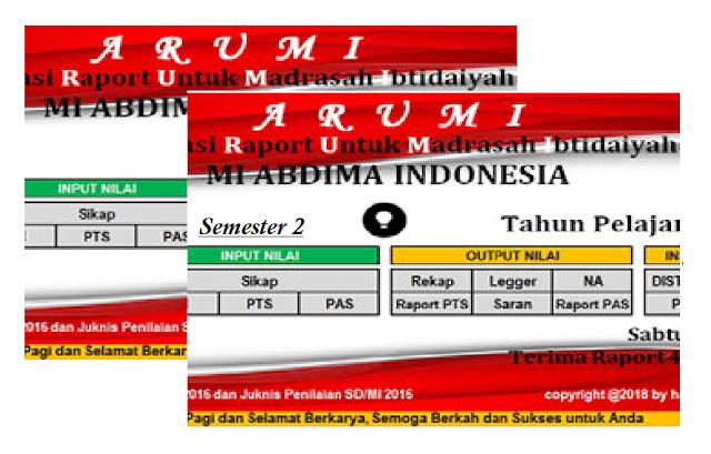 Aplikasi Raport MI Kurikulum 2013 Tahun 2018 Semester 2 (ARUMI)