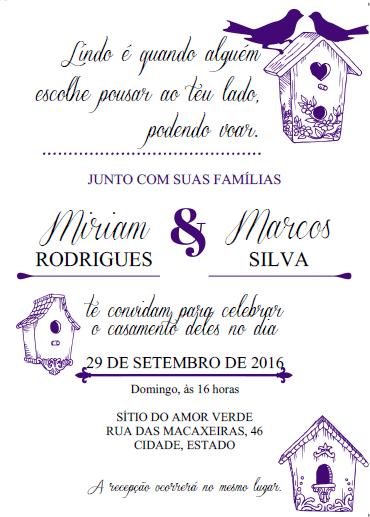 Convite casamento roxo