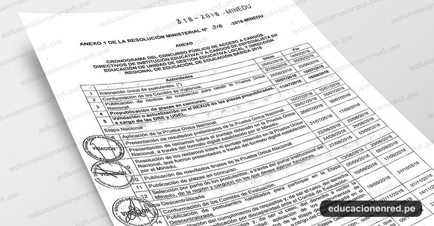 MINEDU publicó nuevo Cronograma para Nombramiento Docente y Acceso a Cargos Directivos de I.E. y de Especialista en Educación (R. M. N° 318-2018-MINEDU) www.minedu.gob.pe