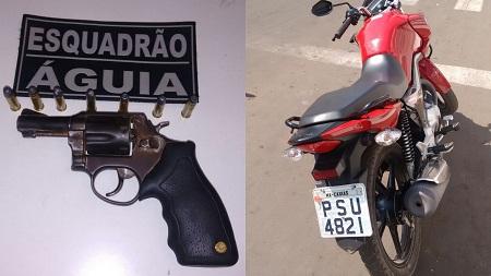 Casal é detido com arma de fogo e moto roubada em Caxias