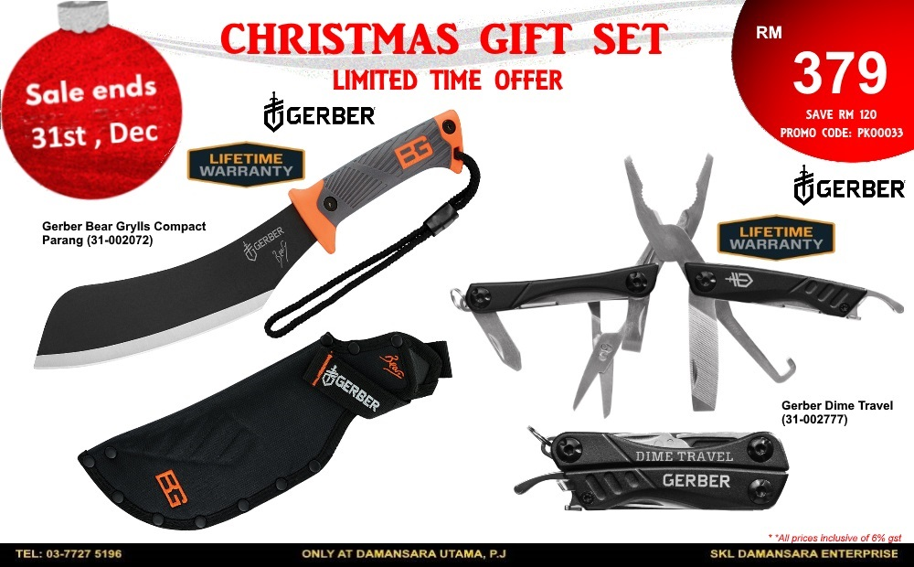 Christmas Promotion! Gerber Bear Grylls Compact Machete & Gerber Dime Travel Tools @ RM 379 only!
