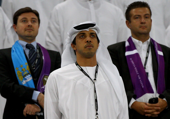 Manchester City owner Sheikh Mansour bin Zayed Al Nahyan are pictured during the friendly match between Al Ain and Manchester City at Hazza bin Zayed Stadium on May 15, 2014 in Al Ain, United Arab Emirates