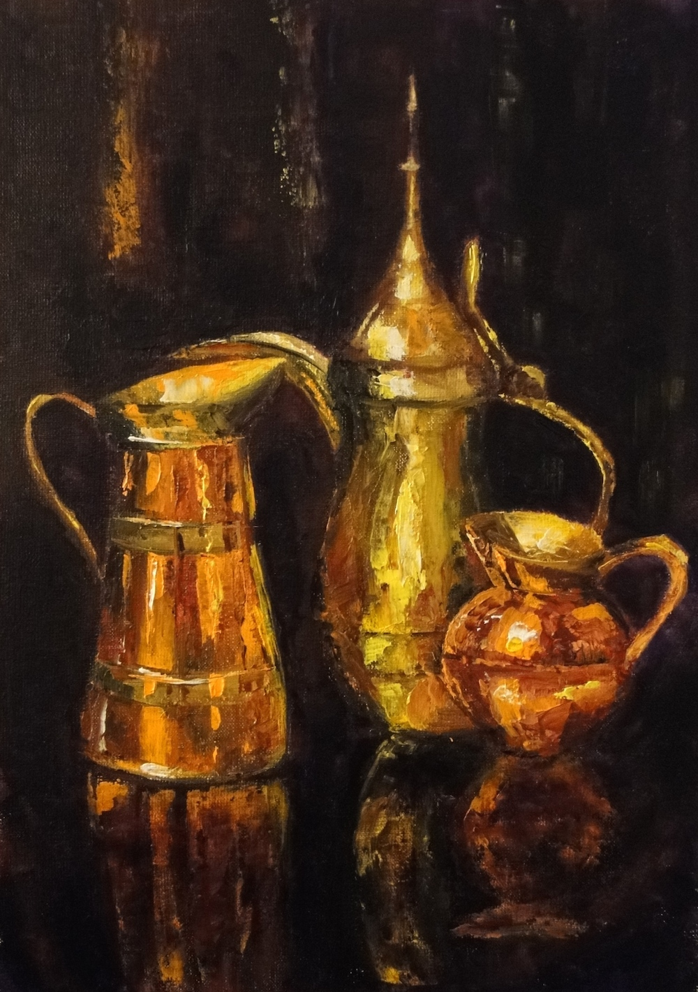 oil painting, still life, copper, metal,