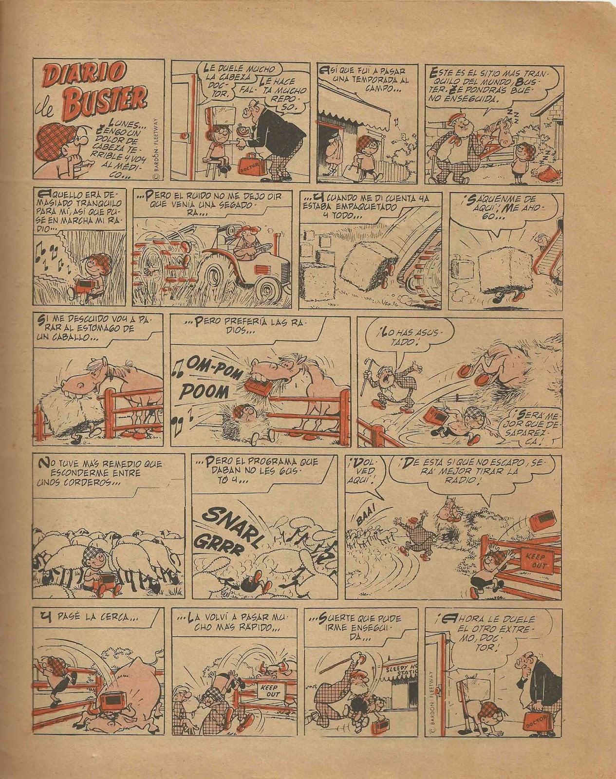 Página de Buster en la revista la Risa (Marco) dibujada por Nadal