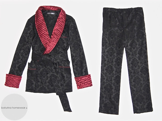 Men's dressing gown quilted silk robe gentleman pajamas set warm long