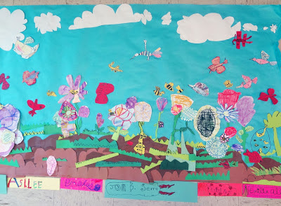 pollination art project, cut paper garden mural, spring science art project