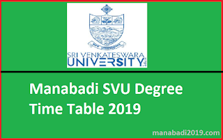 Manabadi SVU Degree Time Table 2019