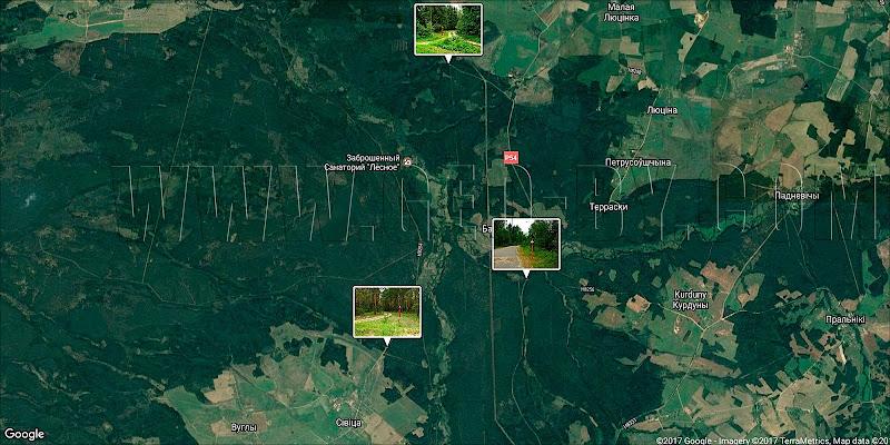 Налибокская пуща. Карта радиационной зоны у Ивенца