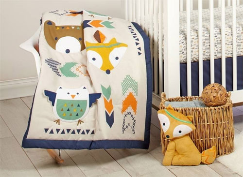 Trend The new and fresh collection Aztec by Little Love features adorable motifs of owl fox and bear in shades of navy orange teal and grey
