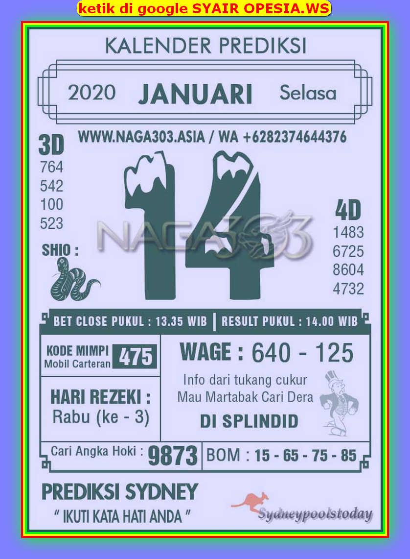 Kode syair Sydney Selasa 14 Januari 2020 69