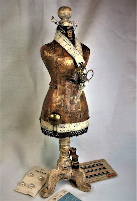 Sara Emily Barker http://sarascloset1.blogspot.com/ Foundry Altered Mannequin #timholtz #foundry #3Dembossing #distresspaints 18