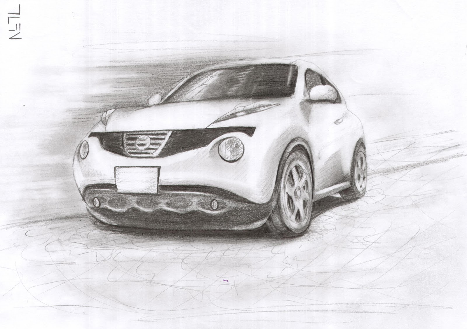 Nissan Juke Drawing with Charcoal by Tufan Demirkır - Garage Car