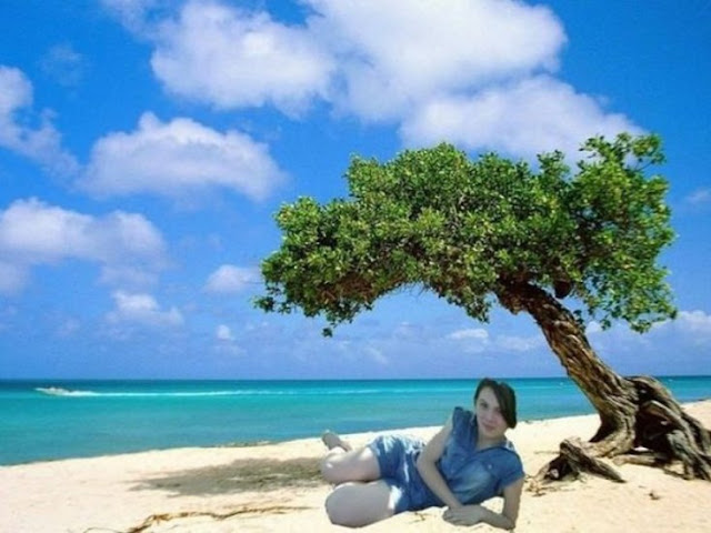 Seus amigos disseram aos amigos que estavam de férias e ela, em resposta, decidiu fazer esta edição para acreditar que ela estava em uma ilha paradisíaca