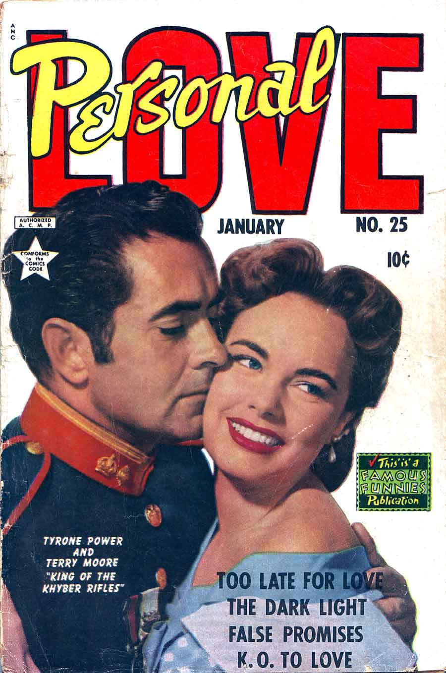 Personal Love v1 #25 Tyrone Power romance comic book photo cover