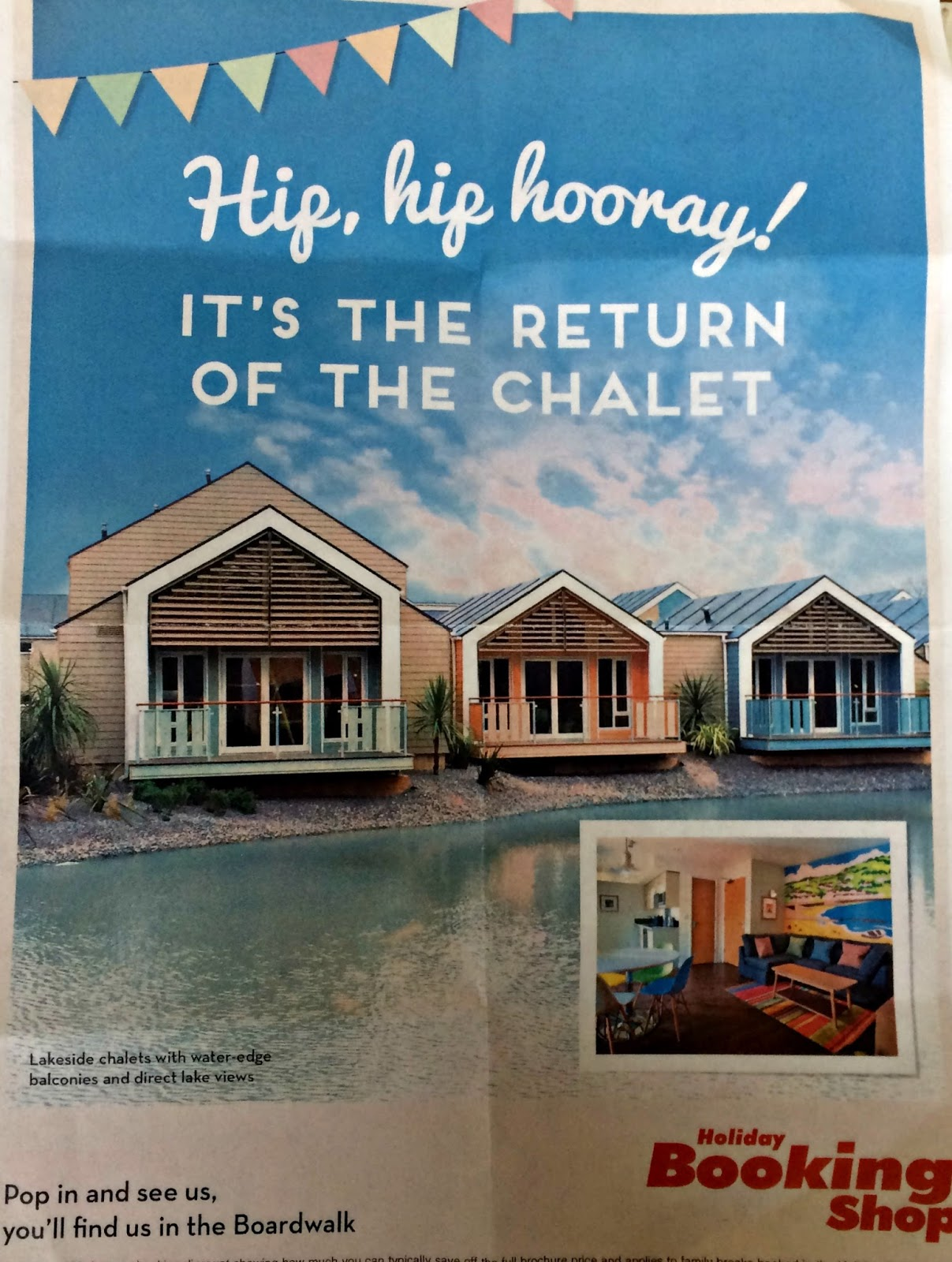 Promotional leaflet advertising the return of the chalet to Butlins Minehead