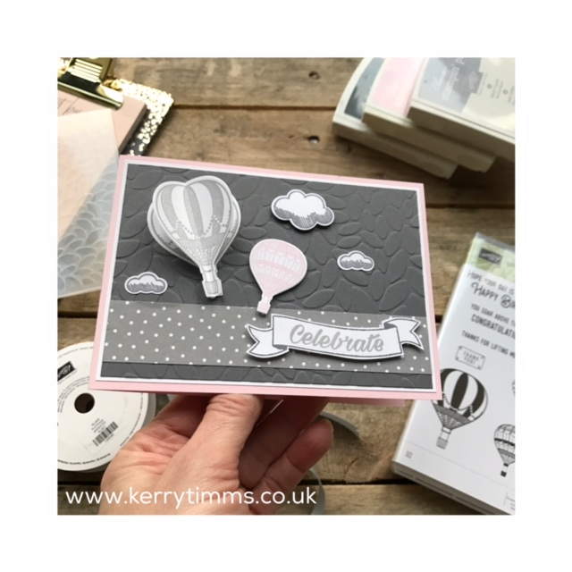 kerry timms cardmaking papercraft scrapbooking class gloucester whitminster handmade craft creative hobby homemade hot air balloon stamps clouds nature emboss big shot machine