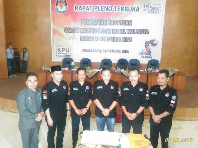 KPU Tetapkan 6 Calon Walikota dan Wakil Walikota Pagaralam 2018