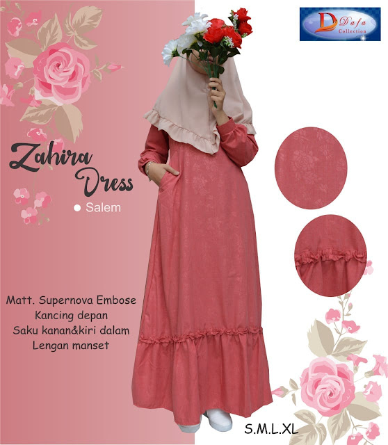 Gamis zahira dress baloteli warna salem kancing depan