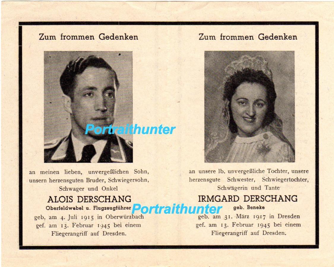 Sterbebild ganda yang mengharukan oberfeldwebel luftwaffe alois derschang lahir 4 juli 1915 dan istrinya irmgard derschang 31 maret 1917