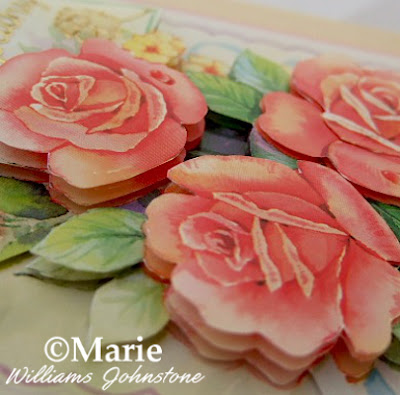 paper tole 3d decoupage layered rose flower design on a handmade card