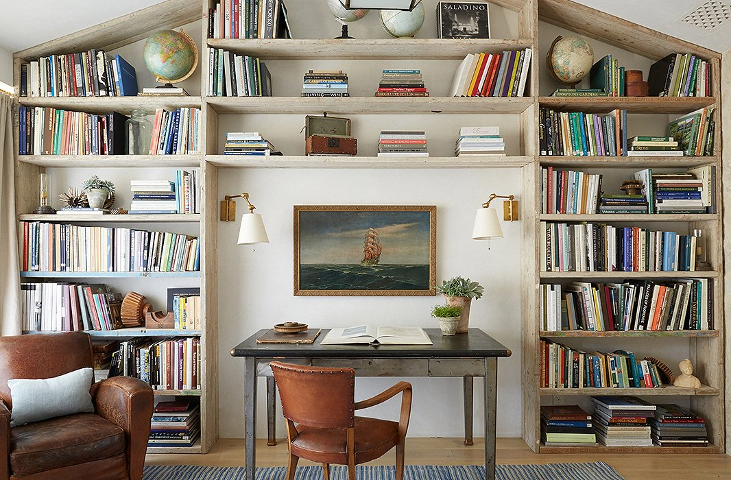 Beautiful modern farmhouse built-in book shelves at Patina Farm...decor inspiration on Hello Lovely Studio