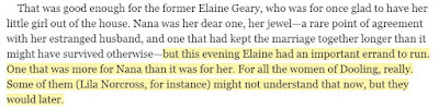 but this evening Elaine had an important errand to run. One that was more for Nana than it was for her. For all the women of Dooling, really. Some of them (Lila Norcross, for instance) might not understand that now, but they would later.