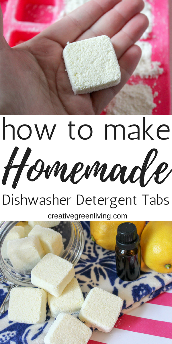 Learn how to make easy DIY homemade dishwasher detergent with natural ingredients that really works! Combine the essential oils and powder to make tabs that are easy to store and easy to use - just pop one tablet in for each load! #dishwasherdetergent #greencleaners #homemadecleaners #naturalcleaner #DiYcleaner #essentialoils