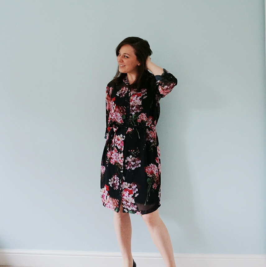 Floral chiffon Alex shirt dress from Sew Over It My Capsule Wardrobe: City Break ebook