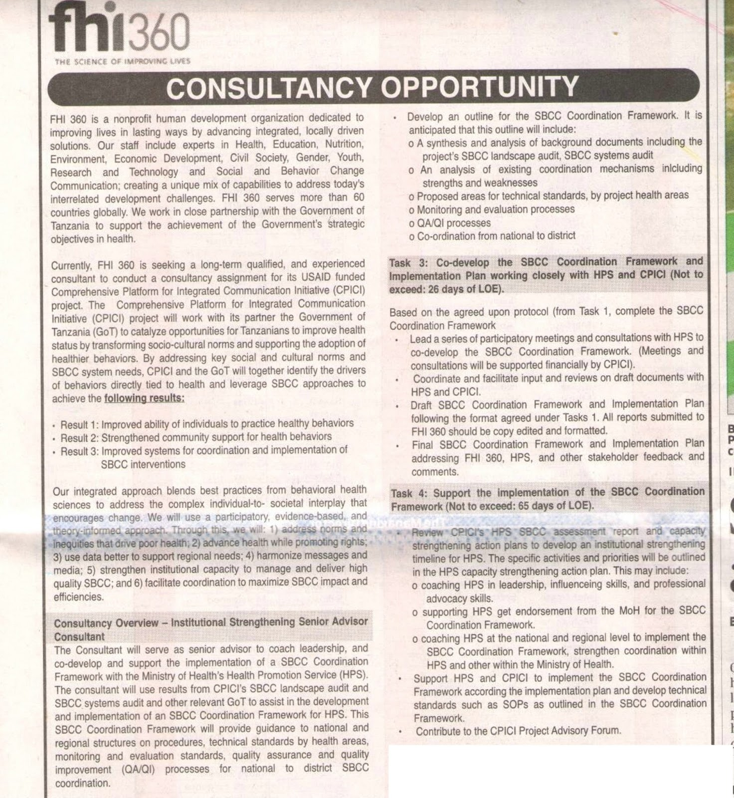 Consultancy Opportunity Fhi 360 Find Your Dream Jobs Today Tanzania