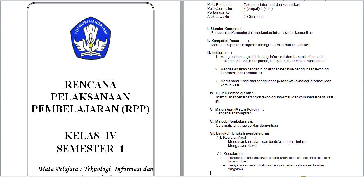 Download Rpp Tik Teknologi Informasi Dan Komunikasi Sd Mi Kelas 4 5 6 Semester 1 Dan 2 Library Pendidikan