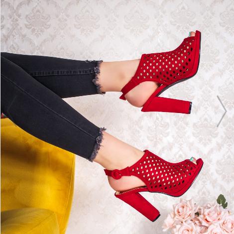 Sandale cu toc gros de vara de dama rosii la oda din piele intoarsa eco