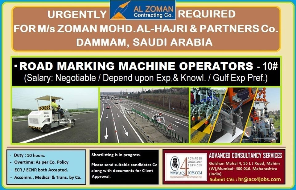 Road Marking Machine Operator for Saudi Arabia