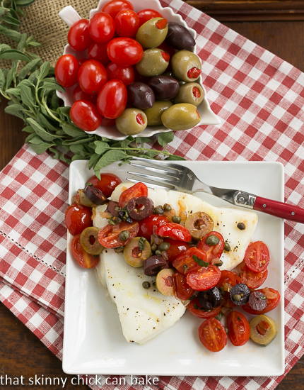 Sea Bass with Tomatoes, Olives, and Capers