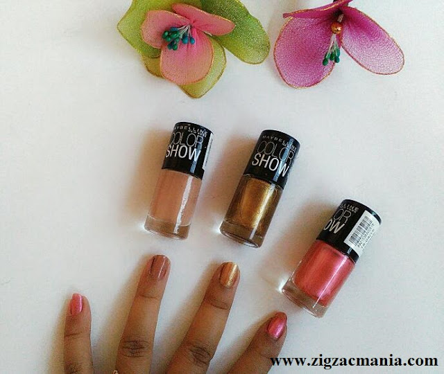 Maybelline Color Show Nail Paints (Chrome Pink, Burnished Gold & Nude Skin) Review & Swatches