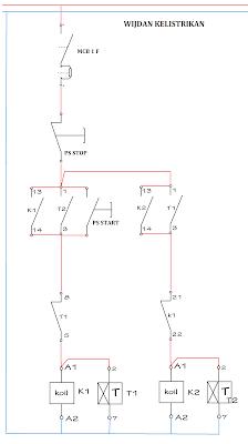 Rangkaian Kontrol motor listrik 3 fasa hidup mati bergantian secara otomatis