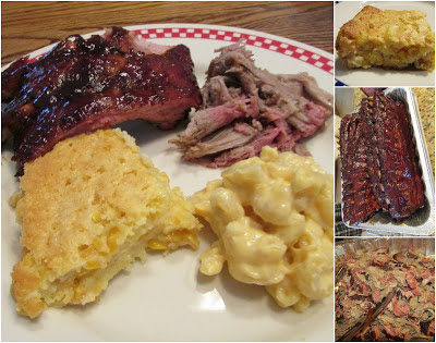 plate of bbq meat, corn casserole and macaroni and cheese
