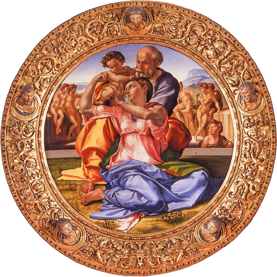 Sagrada familia con San Juan niño de Miguel Angel. Galeria Uffizi