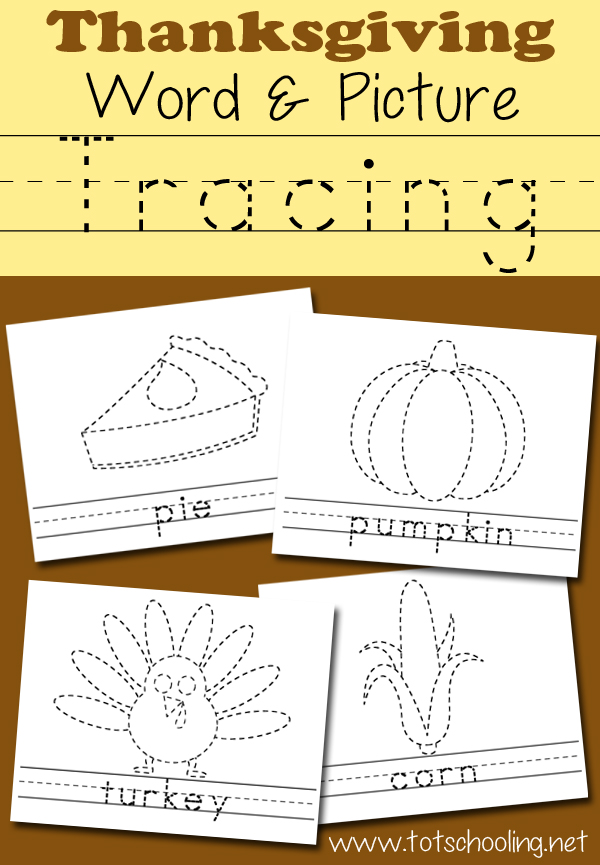 10 Free Thanksgiving themed tracing sheets to practice handwriting, drawing and coloring!