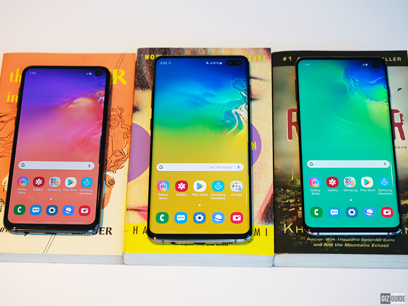 From left to right: Samsung Galaxy S10e, S10+, and S10