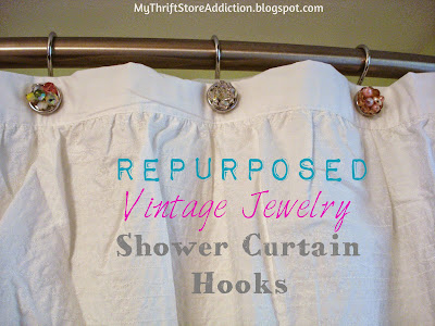 Vintage jewelry shower curtain hooks