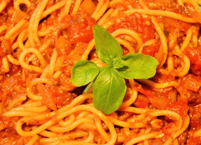 Up close vegan mushroom bolognese.