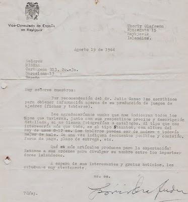Carta de Thorir Olafsson a Ángel Ribera en 1964
