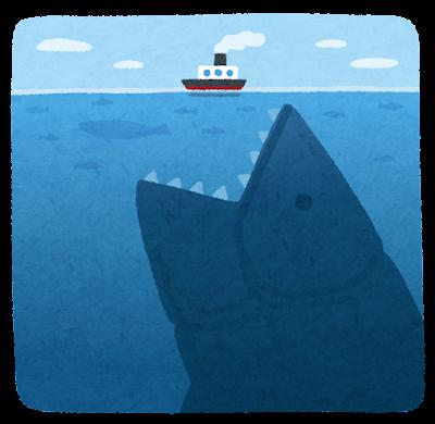 海の中の巨大生物のイラスト