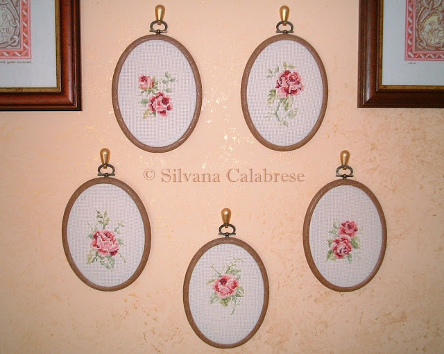 Small oval paintings roses embroidered cross-stitch Loving San Francisco