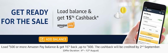 Load ₹500 or more Amazon Pay Balance & Get 15% upto ₹300 Cashback.