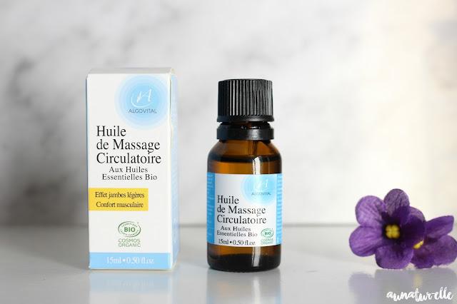 huile de massage bio jambes légères Algovital