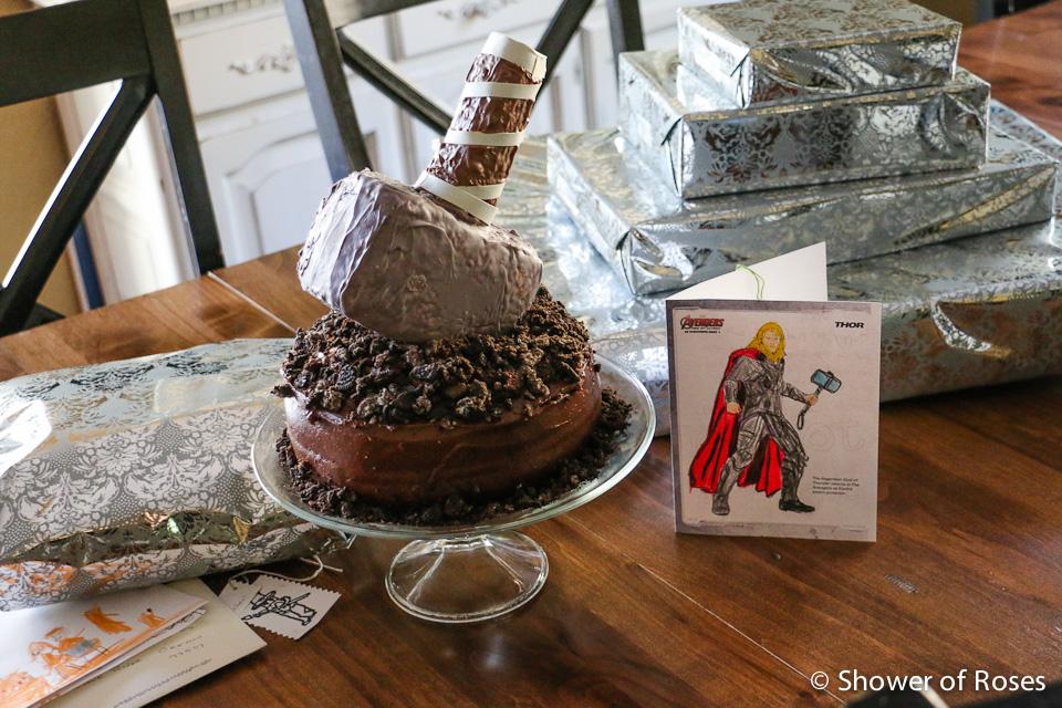 Enjoyable Shower Of Roses Thors Hammer An Avenger Themed Birthday Cake Personalised Birthday Cards Paralily Jamesorg
