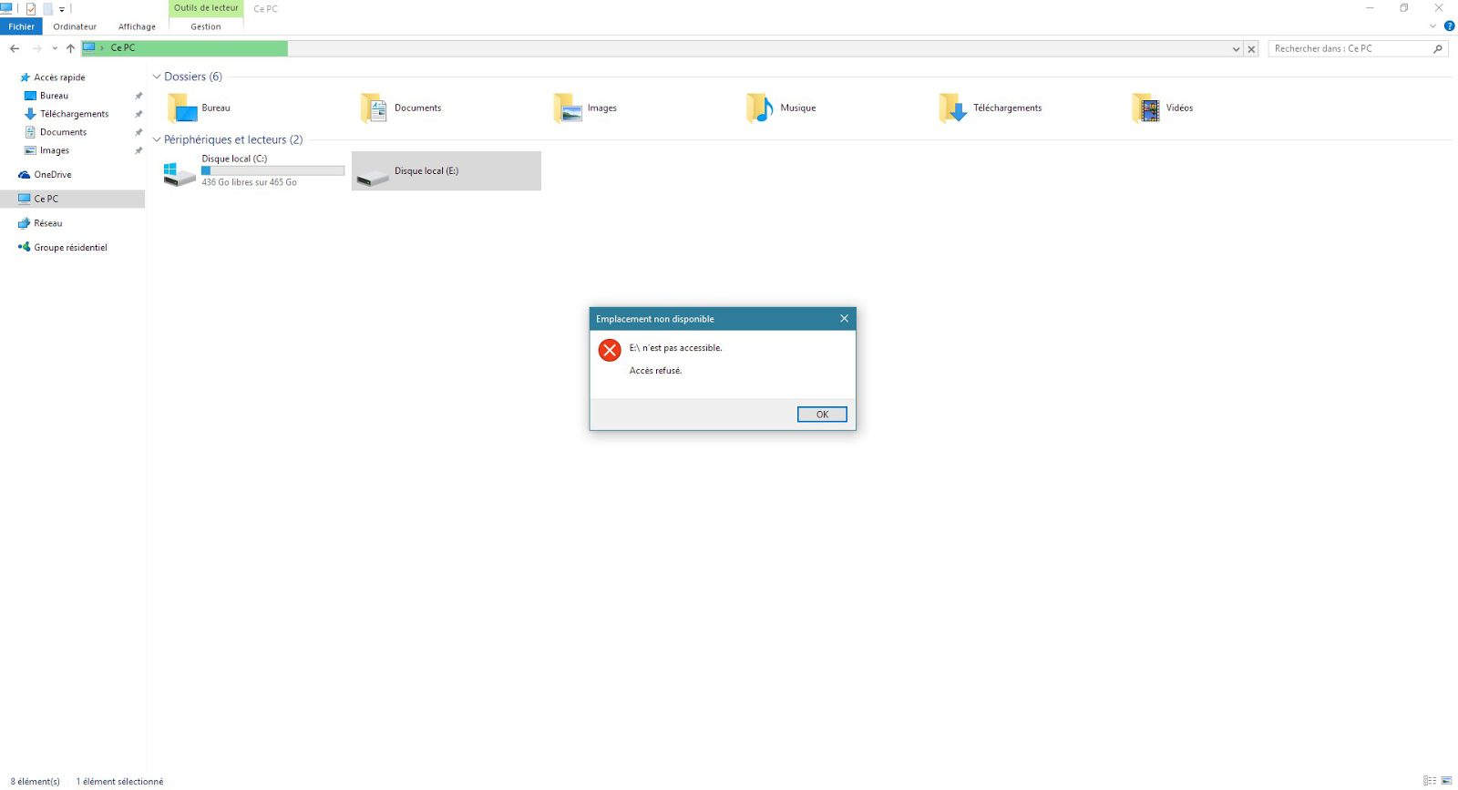erreur 5 accès refusé lors de l'installation du logiciel