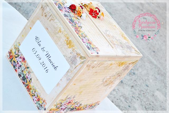 Pudełko na koperty drewniane