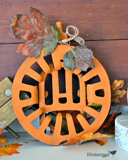 Grill grate turned into a pumpkin